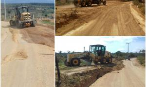A prefeitura municipal constrói novo trecho da estrada que liga Ibiquera ao Assentamento Mundurí e Rio Seco